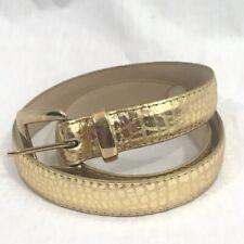 Vintage 1980s Gold Faux Reptile Vegan Belt M