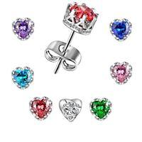 Silver Filled Zircon Crystal Heart Ear Stud Earrings Womens Wedding Jewellery