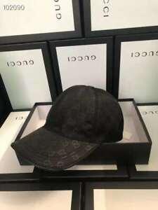 NEW GUCCI HAT Black,MEN'S/WOMEN,CANVAS BASEBALL CAP,ADJUSTABLE,SIZE M