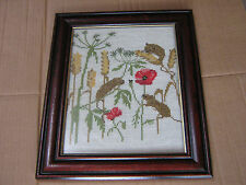 LOVELY FRAMED EMBROIDERED/TAPESTRY ON HESSIAN/CANVAS  FIELD MICE ON CORN POPPIES