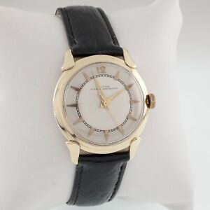 Croton 14k Yellow Gold Nivada Grenchen Automatic Men's Watch w/ Leather Band
