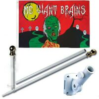 Happy Zombie Brains 3 x 5 FT Flag + 6 Ft Spinning Tangle Free Pole + Bracket