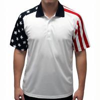 Men's Stars & Stripes Polo Golf Shirt in Red White and Blue Flag Design
