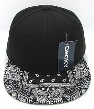 DECKY Plain Black Snapback Cap Hat Paisley Bandana Flat Bill Visor Caps Hats NWT