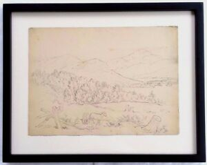 19th c. Edward Seager Drawing New Hampshire Landscape w/ Exhibition Catalog