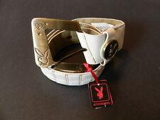Playboy Bunny and heart crystal bronze tone buckle white belt medium NEW