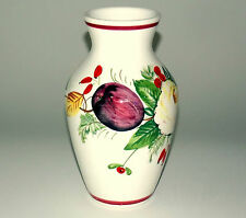 VINTAGE PORCELAIN VASE W/ HAND PAINTED FRUITS & FLOWERS; MADE IN ITALY BY ANCORA