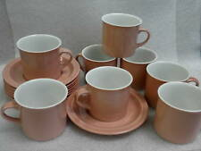 Royal Doulton Tea Cup & Saucer Set x 6 Dusty Rose Chroma Pattern 1984 Vintage