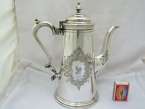 LARGE VICTORIAN SILVER PLATED COFFEE POT - COCKERAL CREST - COLLIS LONDON 1860