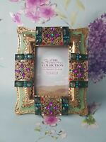 Gold Photo Picture Frame ornate hand decorated with Vintage Jewellery 5x8 cm