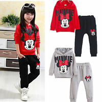 Kids Baby Girls Minnie Mouse Tracksuit Hoodie Sweater Top Pants Outfits Set