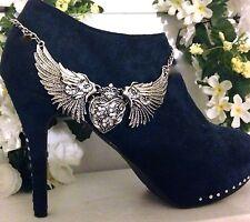 Boot Bling Jewelry Bracelet  Rhinestone Harley Heart Wing Chain  SALE