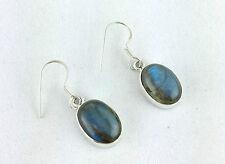 Solid Silver 925 Sterling Silver Labradorite Drop / Dangle Earrings