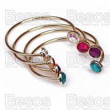 SET 4pcs TORQUE CUFF BANGLES ab,green,pink,purple GOLD FASHION BRACELETS uk GIFT