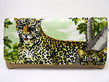 New Leopard Beaded Check Book Wallet Credit Card Purse Leopards