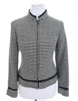 Pendleton Womens Virgin Wool Houndstooth Blazer Jacket Leather Sz 6P 6 Pet Small