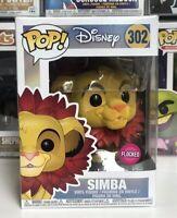 ⭐️The Lion King- SImba LEAF MANE FLOCKED #302 Funko Pop POP DISNEY + Protector⭐