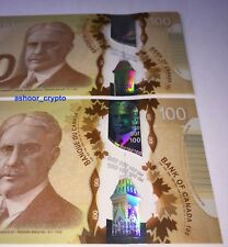 Bank of Canada $100 UNC Polymer Banknote, Consecutive SN, Uncirculated, 2011