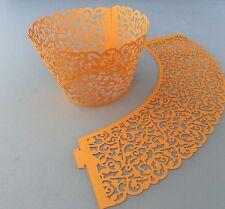 12 Arancione Filigrana Vine Cupcake Involucri-Wraps Laser Cut Carota