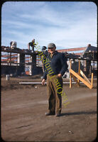 Construction Worker Building Cinder Block 1950s 35mm Slide Red Border Kodachrome