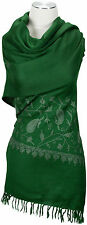 Stola Floral Handstick Grün Schal 100% Wolle wool Green hand embroidery stole