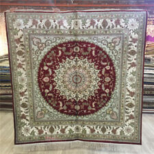 Yilong 5'x5' Hand Knotted Silk Area Rug Living Room Handmade Square Carpet 102C