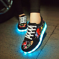 Scrawl Unisex LED Light Up USB Sneaker Women Men Lace Up Sportswear Casual Shoes