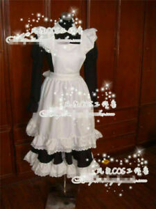 New Long Sleeve Black White coffee maid Dress cosplay :Free shipping