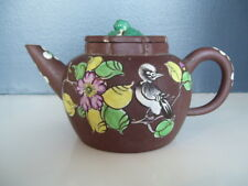 Large Yixing Zisha Chinese Pottery Teapot Enamel Bird & Flowers Qing Republic