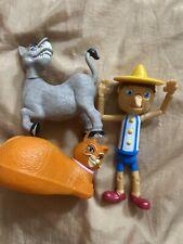 McDonalds 2010 Shrek -2 Action Figures Toy Lot  Of 3 Donkey Pinocchio Cat GUC