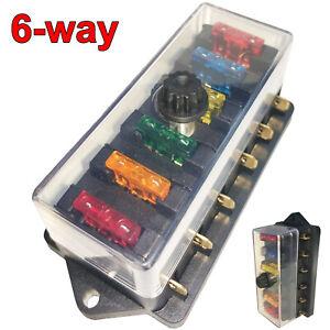 6-Way Auto Blade Fuse Holder Box Block For Car Marine Boat Trailer RV