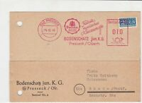 Germany 1949 Presseck cancel Bodenschatz machine Slogan stamps card ref R 16325