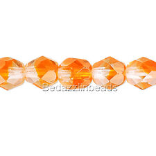 50 Two Toned Orange and Crystal Clear 4mm Round Czech Glass Fire Polish Beads