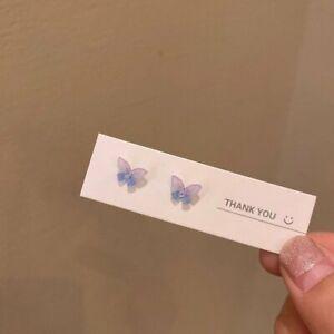 Fashion 925 Silver Resin Cute Butterfly Ear Earrings Stud Women Jewelry Gift New