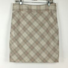 The Limited Womes Size 10 Cream Ivory Peach Plaid Skirt Lined Above Knee Career
