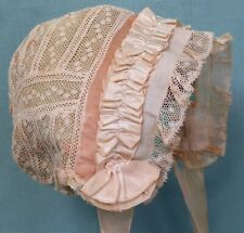 More details for a 19th century hand made valencienne lace baby bonnet with later additions