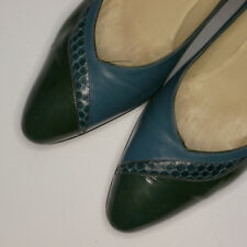 Vintage 1980s Salvatore Ferragamo for Saks Pumps Blue Low Heel Made in Italy