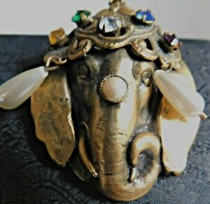 JOSEFF OF HOLLYWOOD JEWELED RUSSIAN GOLD ELEPHANT BROOCH,PIN,SIGNED