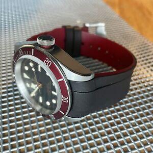 22mm Blackish-Brown Vulcanized rubber Strap Tudor Black Bay Watch M79230