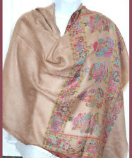 Handwoven Pashmina Cashmere Blend Shawl Tan Color Paisley Floral Design India!