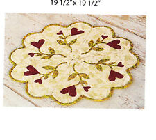 PATTERN - Heart Table Mat - applique & pieced mini PATTERN - Sweetwater