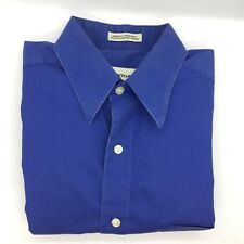 PRONTO UOMO Blue L/S Button PINPOINT OXFORD Dress Shirt 15.5 32/33 80s 2 Ply Men