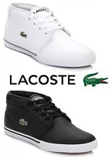 Lacoste Mens Trainers Ampthill Black or White Leather Lace Up Casual Sport Shoes