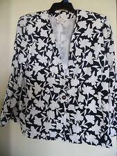 Tan Jay Navy White Floral Print One Button Front Blazer Jacket Size 14
