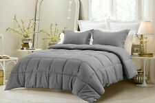 Striped Gray Down Alternative Comforter 200 GSM All Seasons Cal King Size