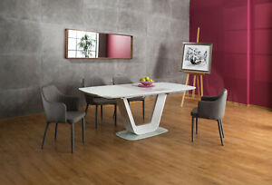 """""""ARMANI"""" White Gloss & White Glass Top Extending Modern Dining Table"""
