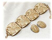 VTG Art Deco Bracelet & Earrings Set Rose Gold Eloxal Aluminum Enamel German