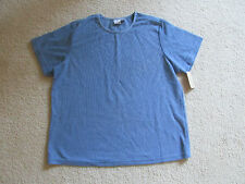 New Women's Cherokee Heather Blue Ribbed Top Casual T Shirt Plus Size 1X 18W/20W