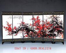 Good Chinese Lacquerware Handwork Painted Plum Screen PF022