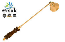 Candle Snuffer-Carrier Wooden Handle with Brass Detailing Party Restaurant 30cm